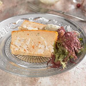 Pudin de pescado y marisco con mayonesa de algas