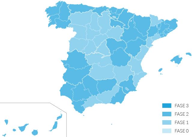 Mapa de desescalada en España