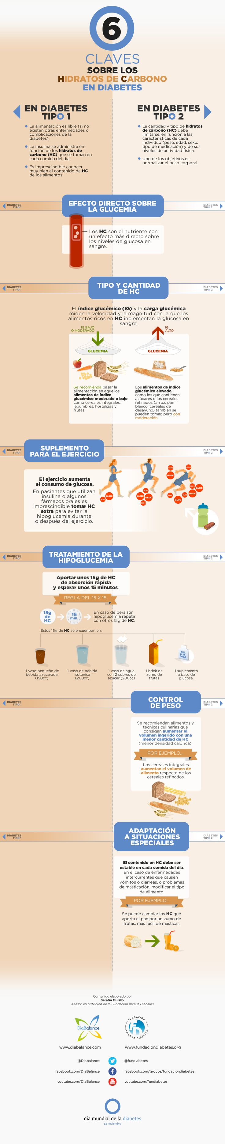 Infografía: 6 Claves sobre los Hidratos de Carbono en Diabetes