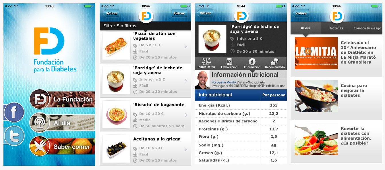 Captura de pantallas de la app de la Fundación para la Diabetes
