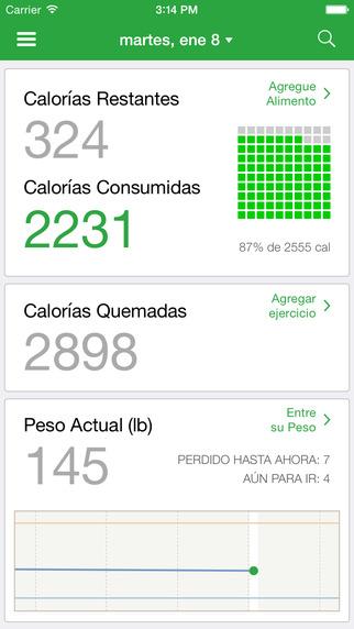contador de carbohidratos de calorías para la diabetes