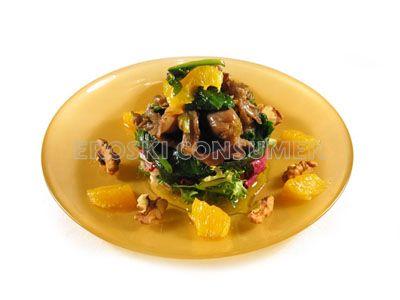 Ensalada tibia de espinacas y setas