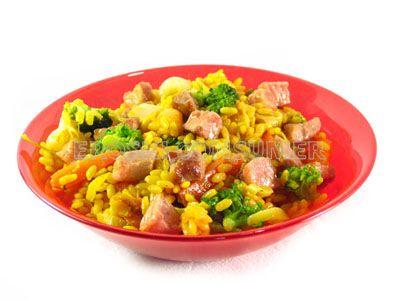 Arroz con magro de cerdo y verduras