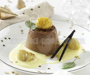 CENA DE NOCHEBUENA.<br /> Postre: <br />  Flan de castañas y chocolate con salsa de vainilla