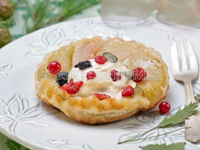 COMIDA DE AÑO NUEVO.<br />Postre: <br /> Receta de tarta de compota de manzana y pera de invierno con helado batido