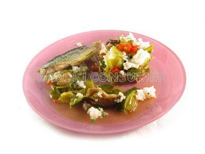 Verduras al horno con arroz blanco y verdel a la plancha