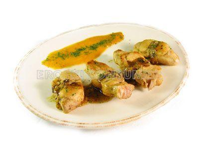 Costillar de conejo a la plancha con salsa de verduras