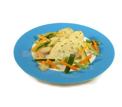 Gallos fritos con caldo corto de verduras