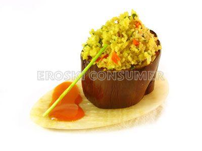 Berenjenas rellenas de cuscús y verduras