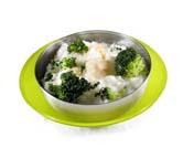 Arroz y brócoli al parmesano con gambas