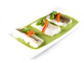 Bacalao con salsa de pimientos verdes